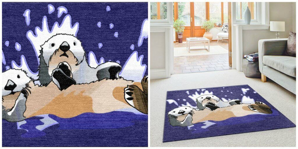 Sea Otters Swimming Custom Rug