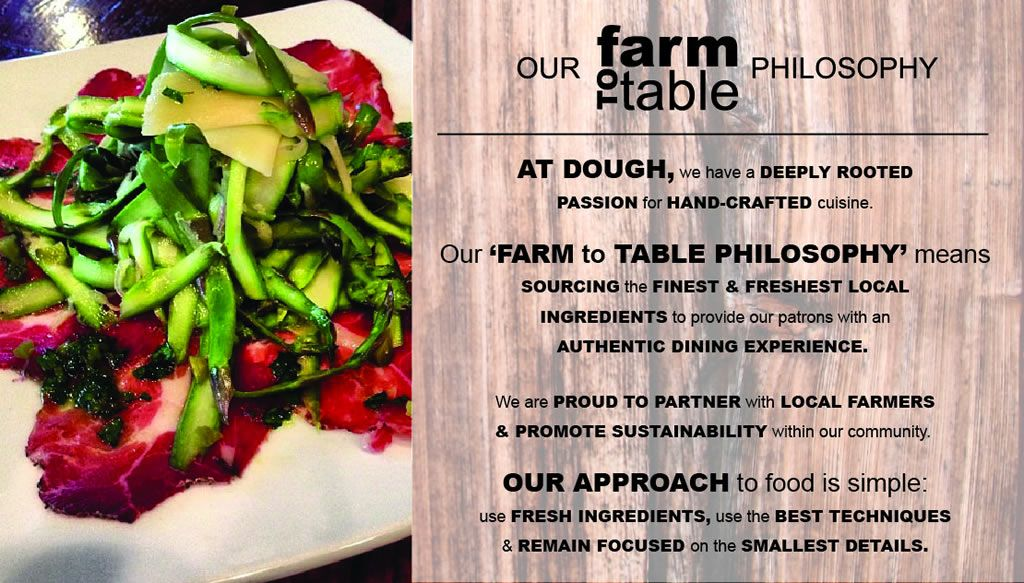 Welcome To Dough Artisan Pizzeria Call Us Farm To Table - Farm to table philosophy