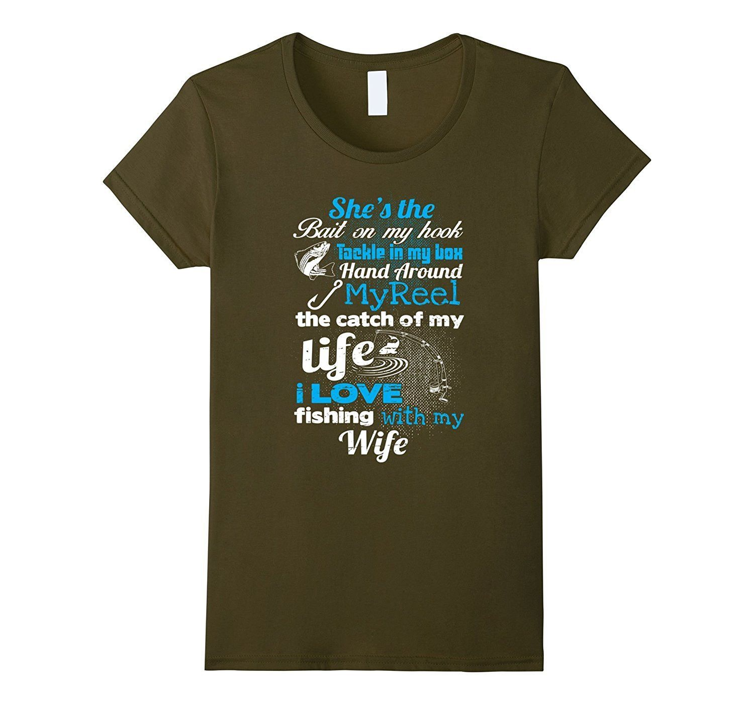 Coo I love Fishing With My Wife T-Shirt Fishing Lover Gifts