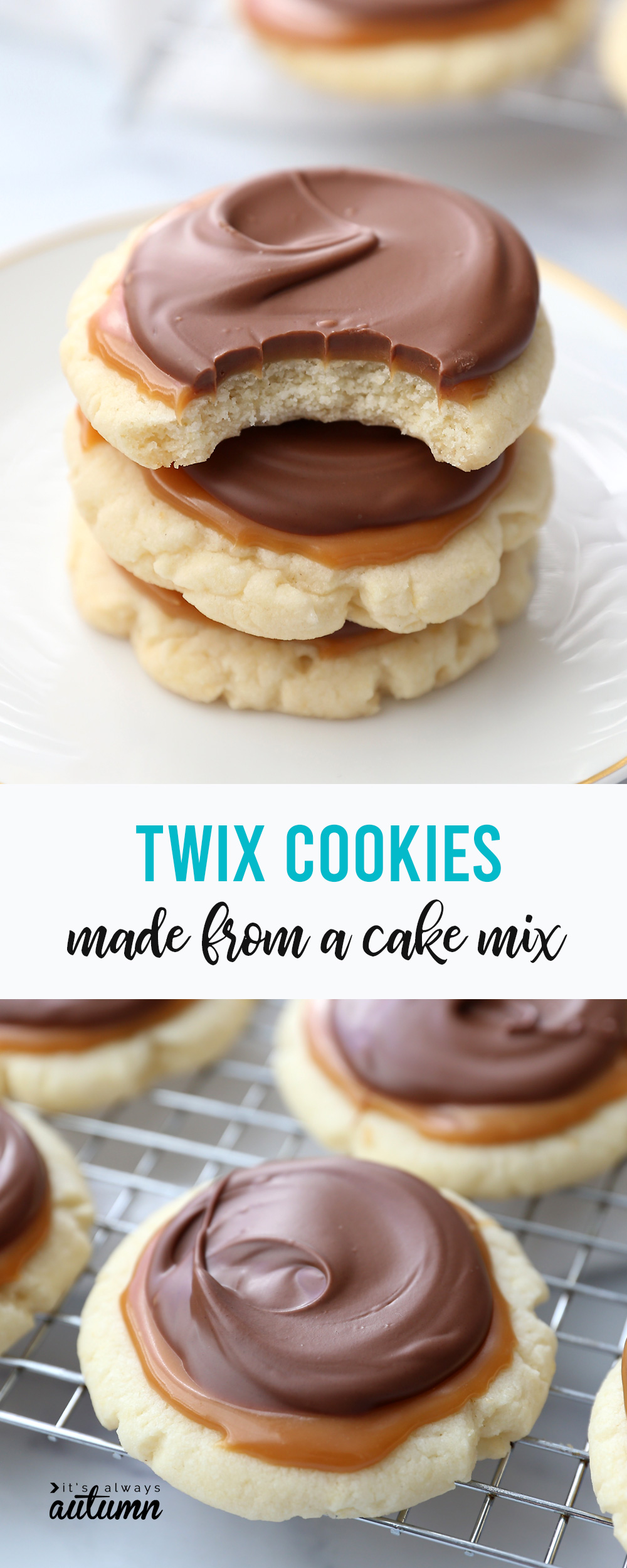 Easy Twix Cookies {made from a cake mix} - It's Always Autumn