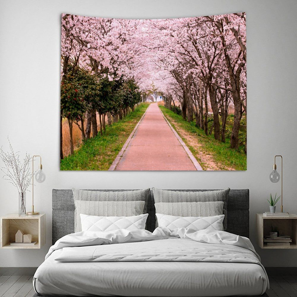 Cherry Blossoms Avenue Scenery Tapestry Hippie Wall Hanging Tapestry Home Decor