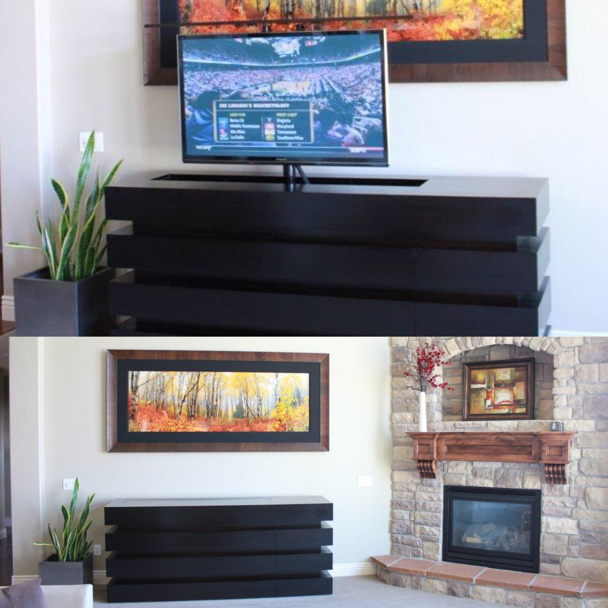 Pop up tv cabinets for flat screens - Le Bloc Buffet In Ebony Finish Placed Next To Fire Place Under Painting Pop Up Tv Cabinet Lifts Flat Screen Out Of Furniture In Honolulu Hawaii