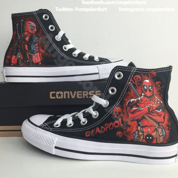 14d324a019 Custom Painted Deadpool themed inspired Converse Hi Tops shoes sneakers.  All Adult   Children s sizes