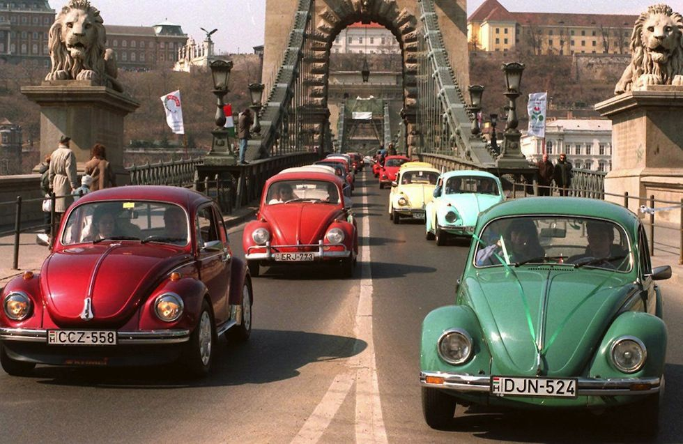 More than 600 Volkswagen Beetle at the gathering in Budapest March 31, 1996