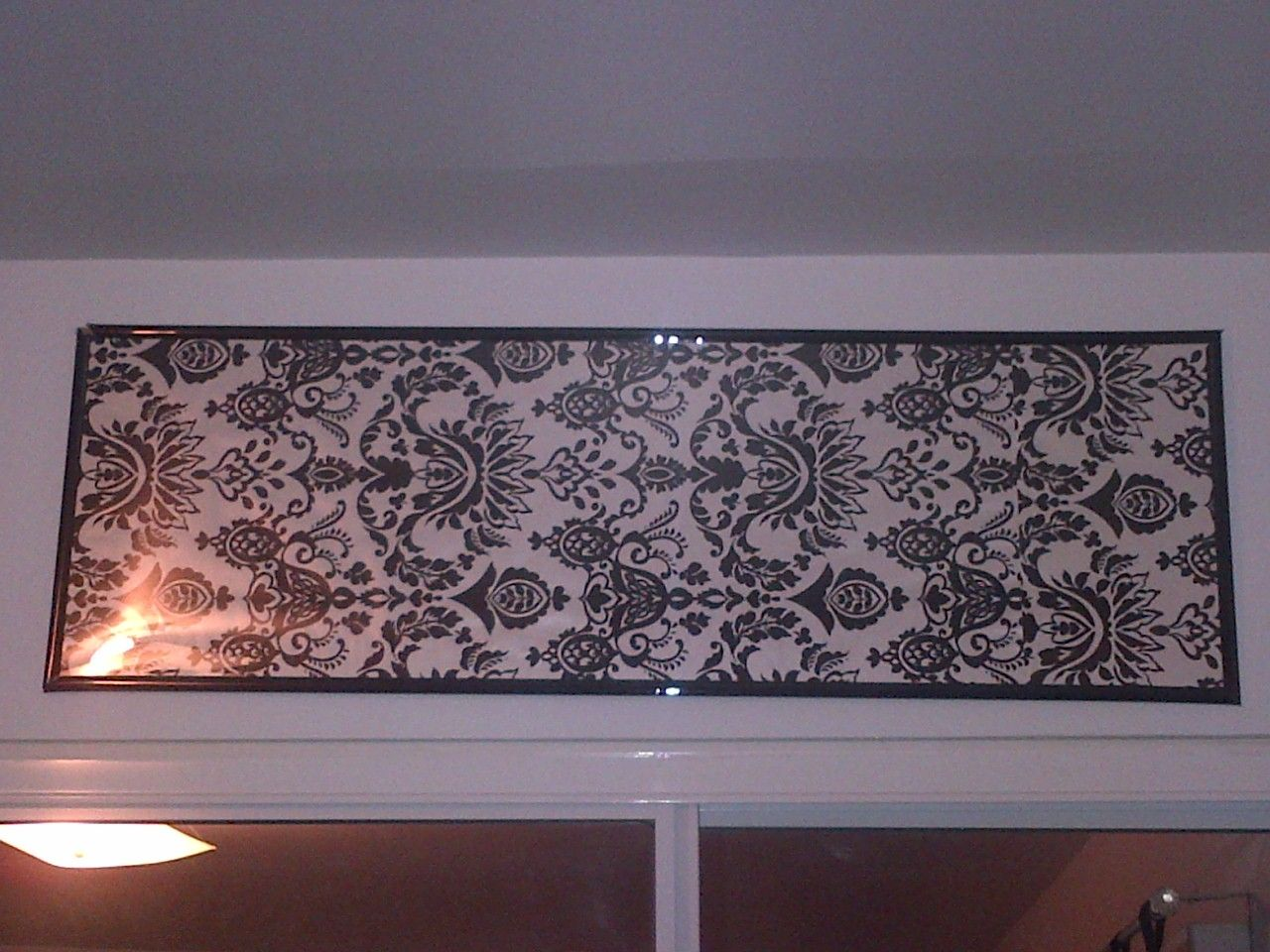 DIY wrapping paper inside of a picture frame, easy way to decorate ...