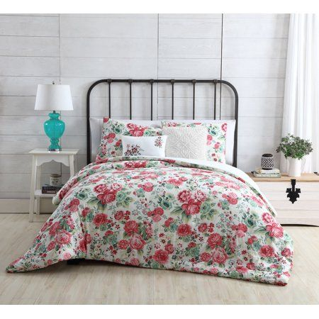 Photo of VCNY Home White / Pink Martha Floral Button Reversible 4/5 Piece Bedding Comforter Set, Shams and Decorative Pillows Included – Walmart.com