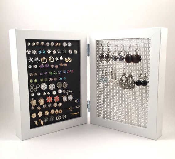 Double Framed Earring Holder White Frame Jewelry Display Hook Stud Organizer