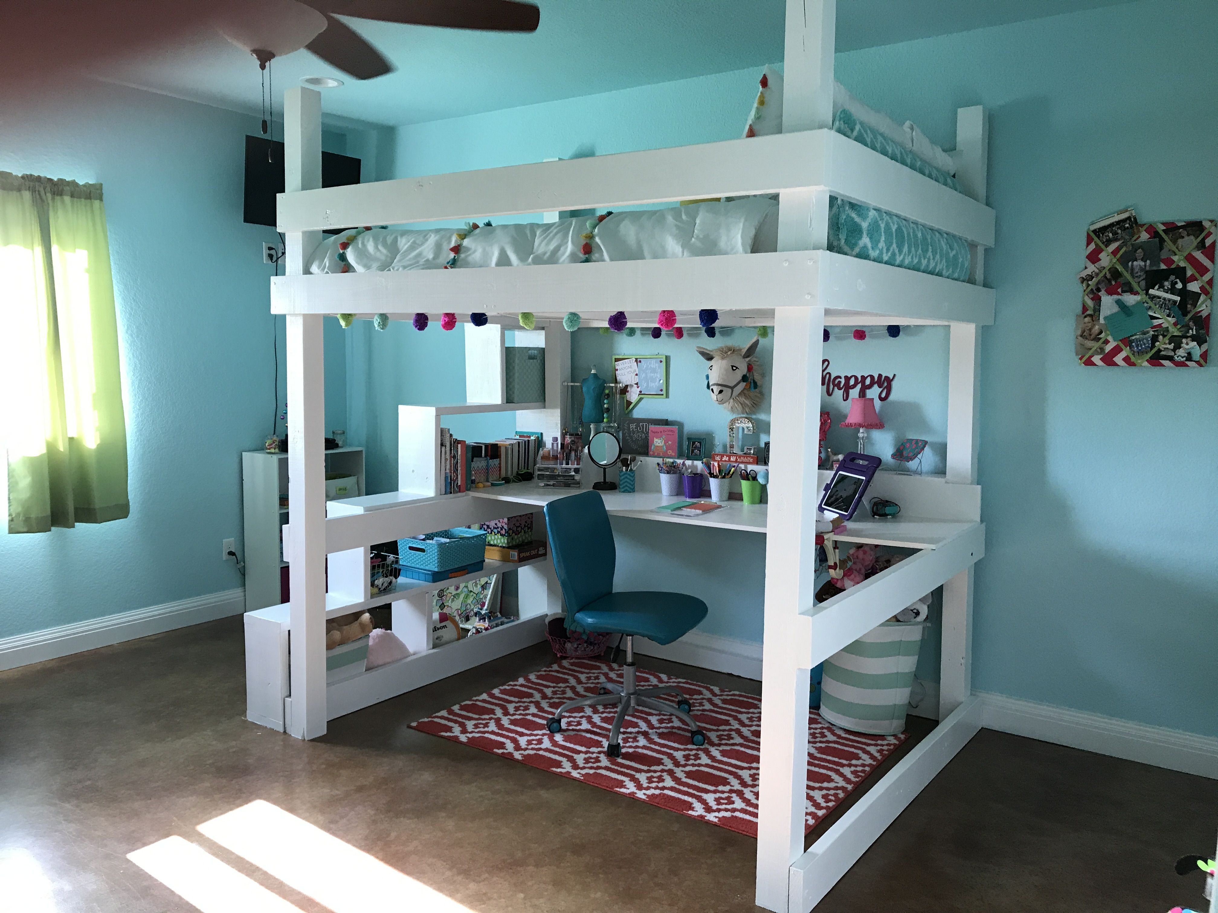 Loft bed with desk queen  Queensize loft bed Built custom bed with storage steps and