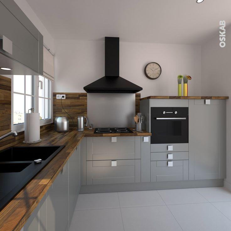 cuisine ouverte grise petite et classique implantation en. Black Bedroom Furniture Sets. Home Design Ideas