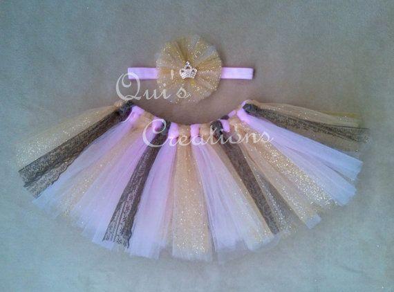 Gold Pink Tutu Set  Lace Tutu Gold Tutu Shabby by QuisCreations
