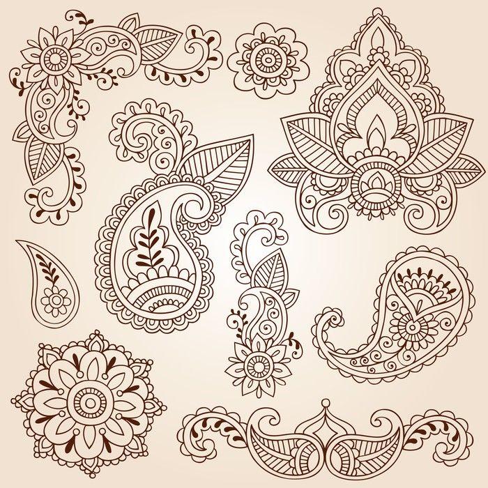Henna Mehndi Doodles Paisley Design Elements Wall Mural • Pixers® - We live to change