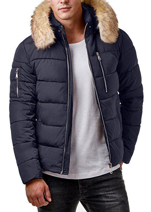 Eightyfive Herren Winter Jacke Fell Kapuze Gesteppt Zipper Schwarz Khaki Ef319 Grosse Xl Farbe Navy Winter Jackets Mens Accessories Fashion Mens Fashion