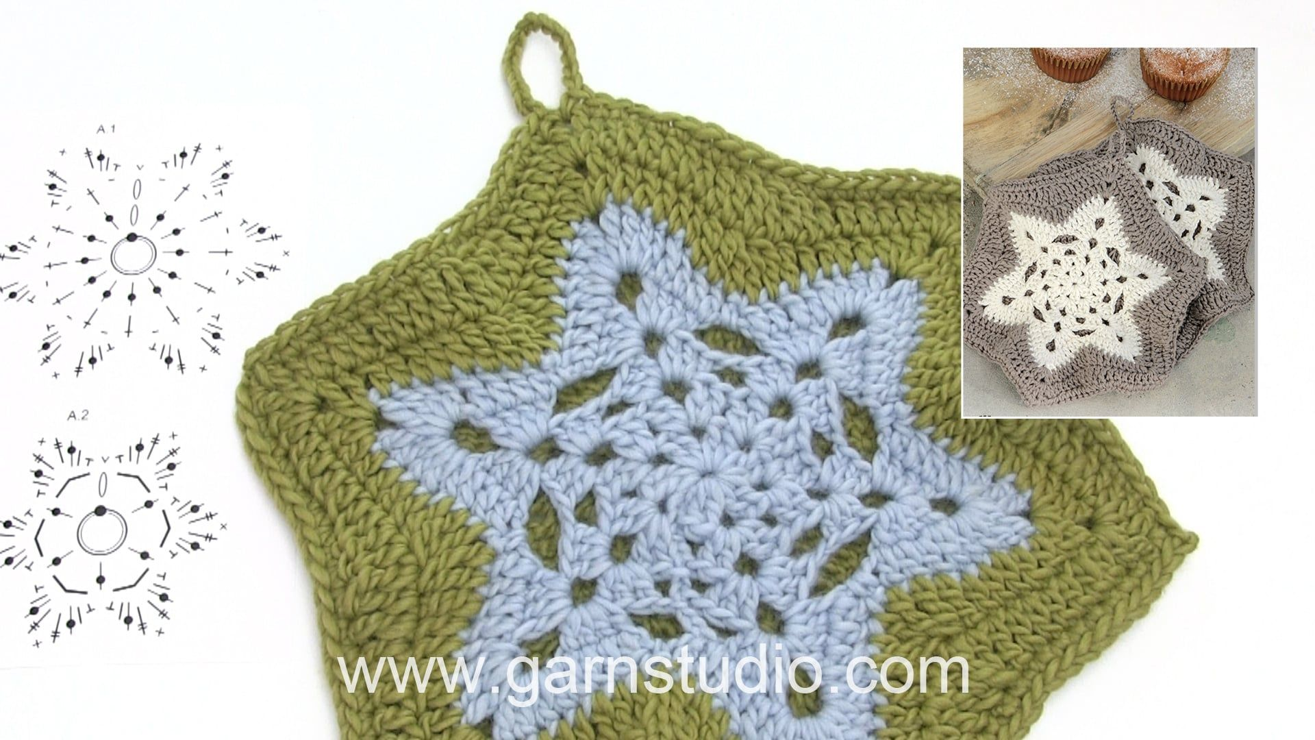 How to crochet the pot holders in DROPS Extra 0-1339 | Presine all ...