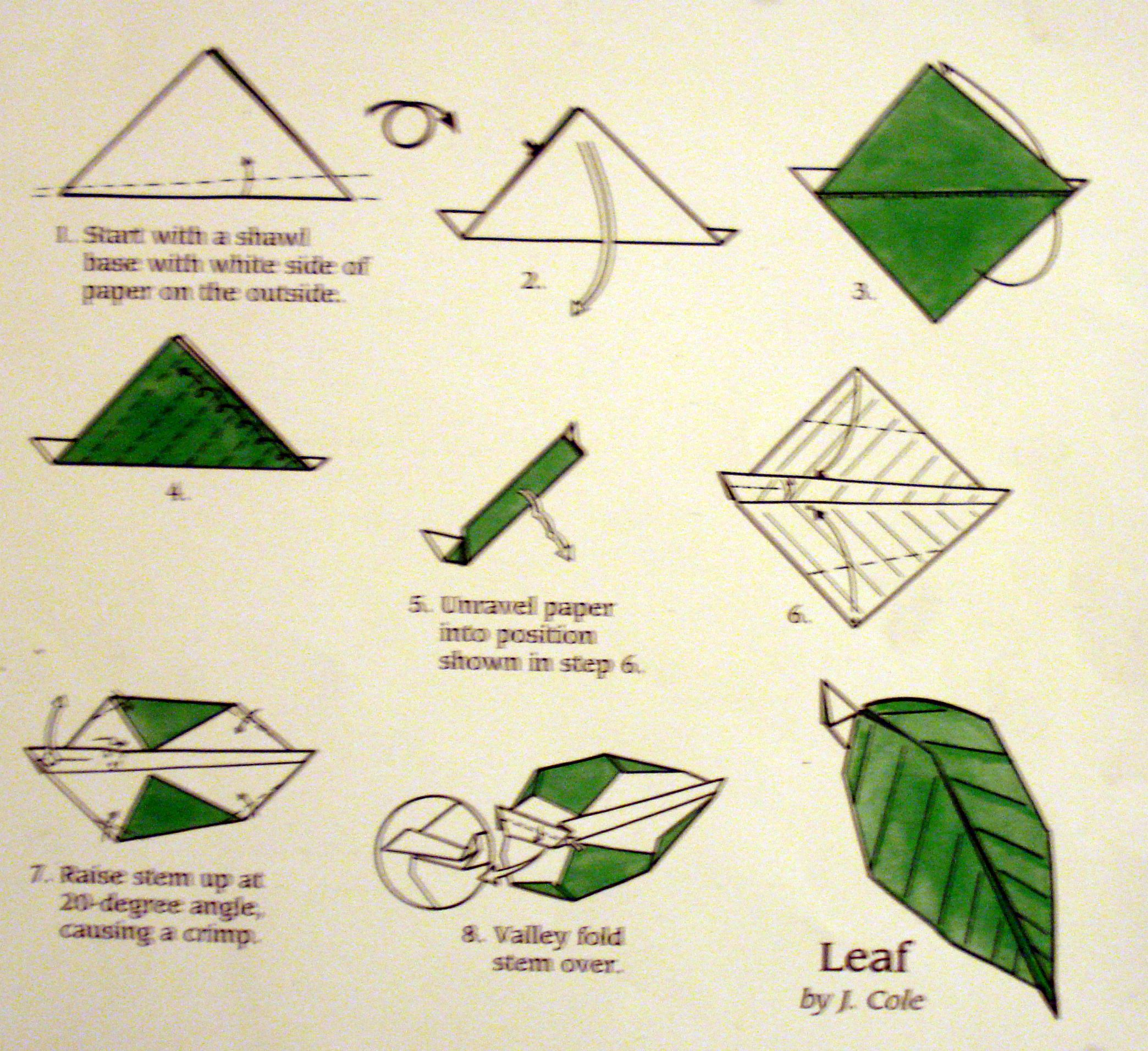 origami flower diagram in english glowshift oil pressure gauge wiring best leaf instructions flowersleaf