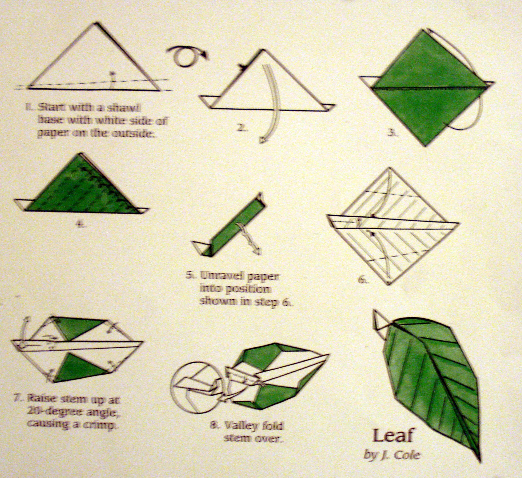 Origami Flower Instruction Diagram Ls Swap Wiring Best Leaf Instructions Flowersleaf