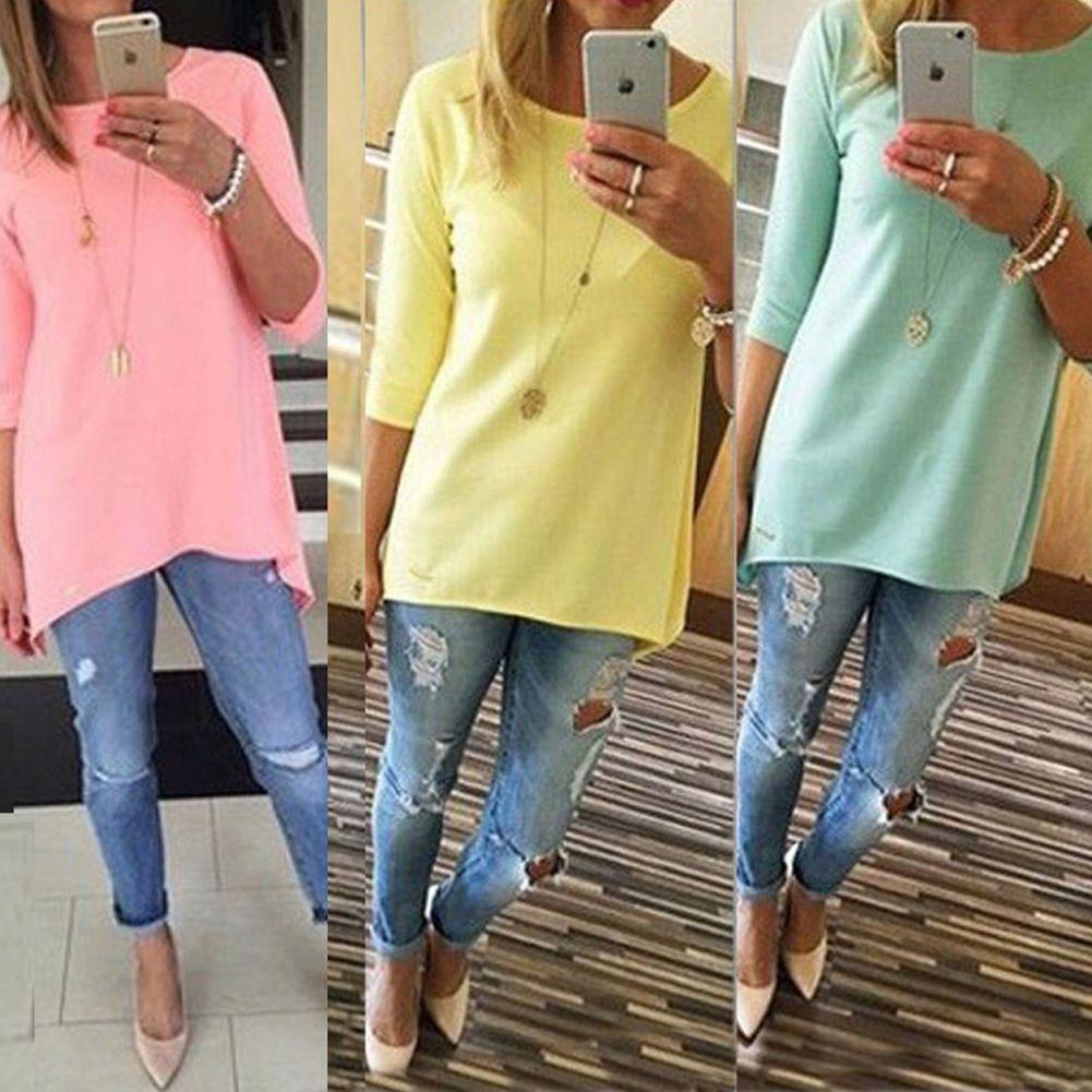 3f6eabed8fb Fashion Womens Loose 3 4 Sleeve Causal Tunic Tops Long Blouse T-Shirt Mini  Dress