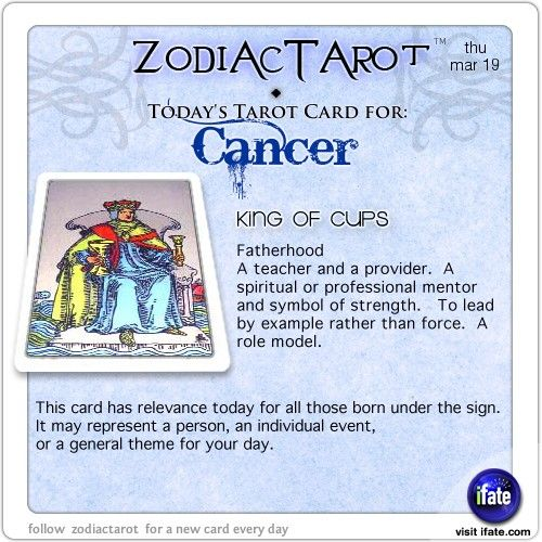 Zodiac Tarot for March 19: Cancer Hey Cancer, follow us for horoscopes every day!