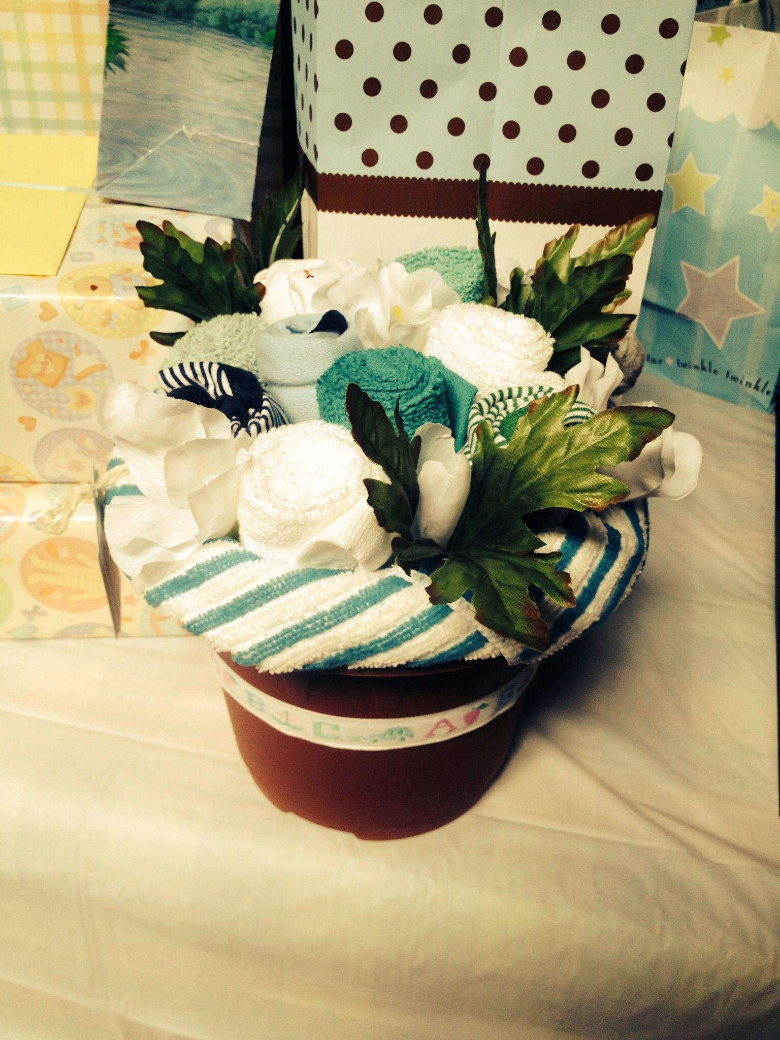 Baby shower boy onesies/wash cloths flower pot Cloth