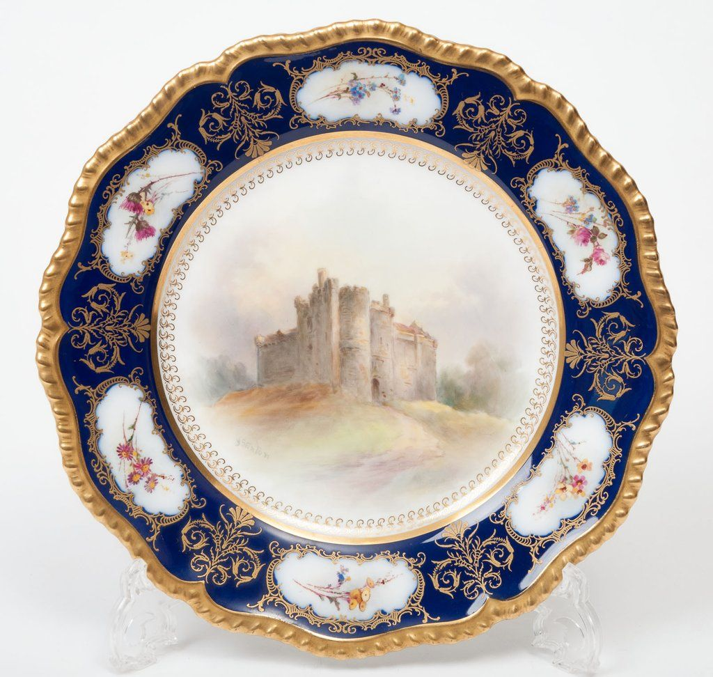 A Royal Worcester John Stinton Landscape Castle Plate - Antique c1902 (Code 8240) #edwardianperiod