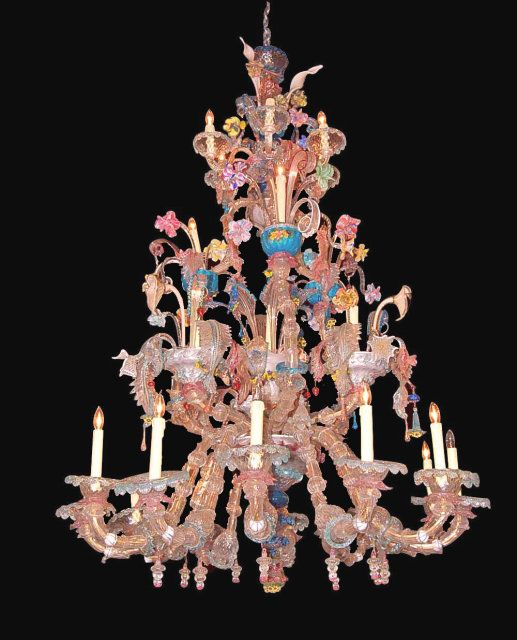Antique Murano Glass Chandelier Circa 1860 And 72 Inches Tall