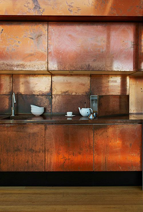 Beautifully Aged Copper Kitchen