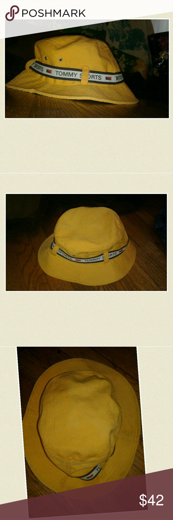 870ed9c2 Vintage Tommy Hilfiger Bucket Hat Great condition! One size fits all.  Yellow with white&navy ribbon w/