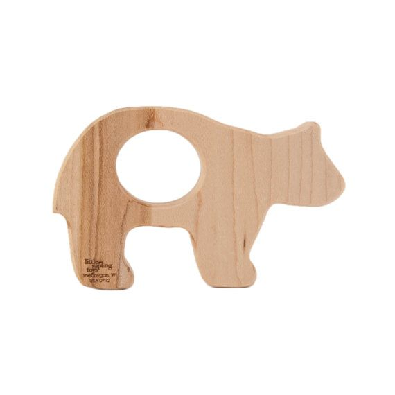 Baby Wooden Toys : Teddy bear baby toy wooden teether toys