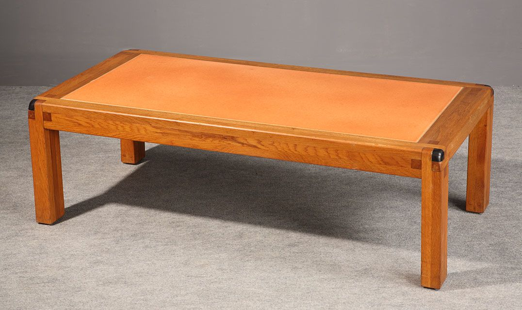 Of A Very Simple Shape, The Peculiarity Of This Piece Of Furniture Is The  Orange Enameled Lava Plate Covering The Top Of The.