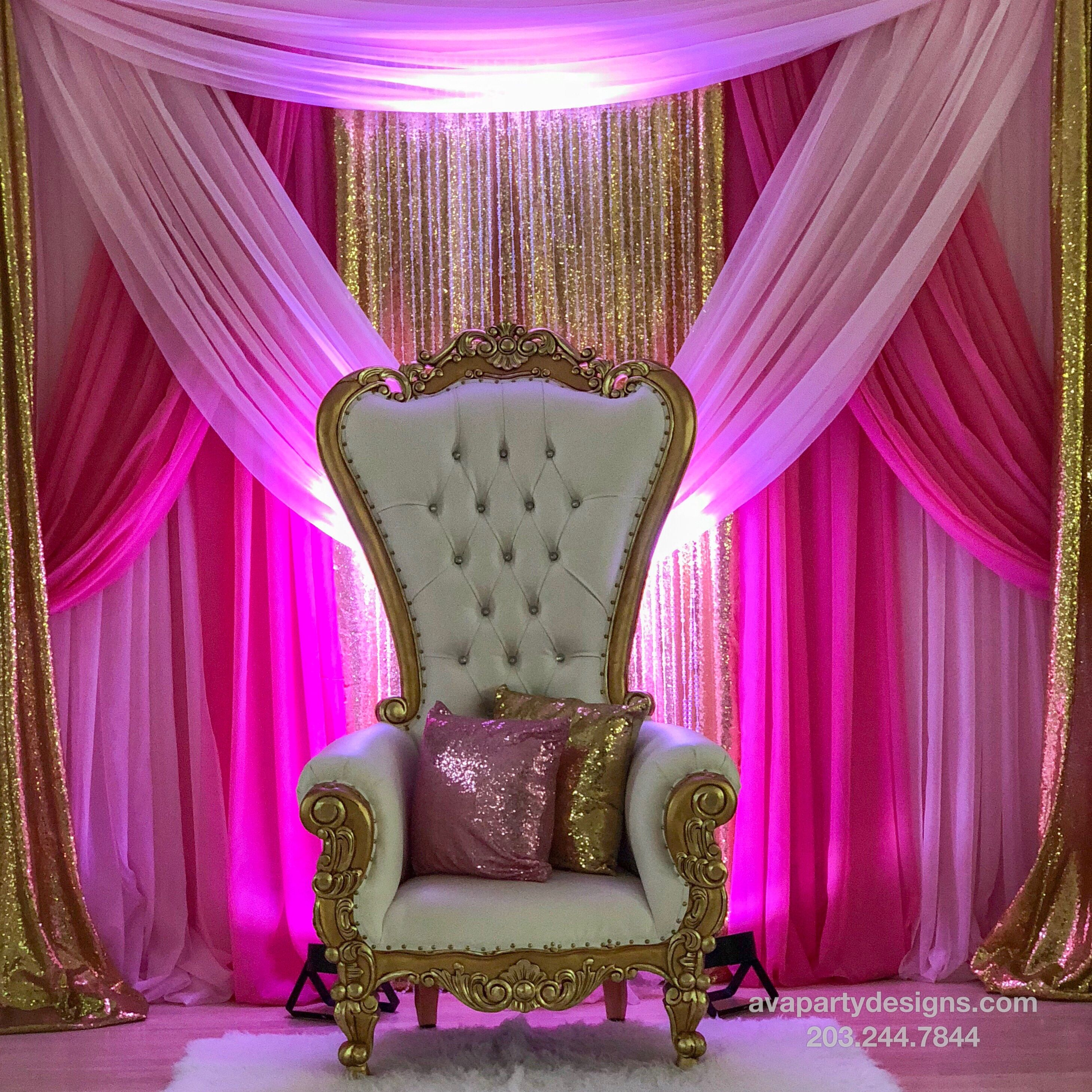 Party Rental Package 1a With Duchess Throne Chair Light Pink Hot Pink And Gold Premium Sweet 16 Party Decorations Pink Sweet 16 Pink And Gold Birthday Party