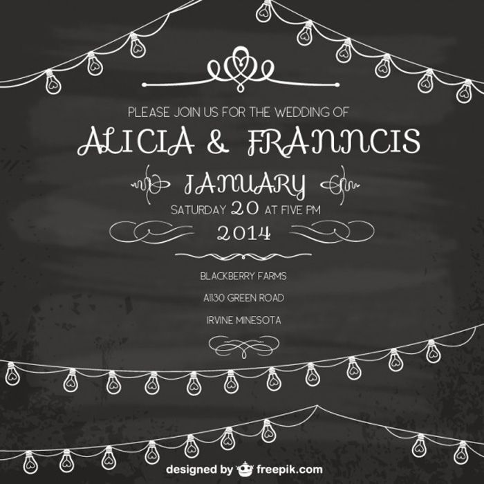 Free-Vintage-Wedding-Invitation-Vector Flyer Templates - chalk board invitation template