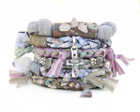 Hippie Wedding Bracelet Shabby Chic Bracelet Stack by peggytrue