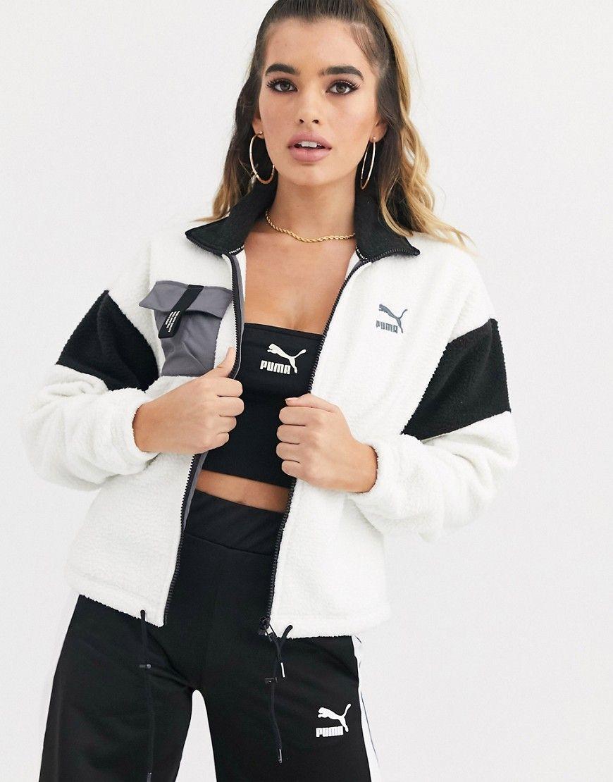 Puma Puma Xtg Fleece Jacket In White Beige Puma Cloth Fleece Jacket Jackets White Beige [ 1110 x 870 Pixel ]