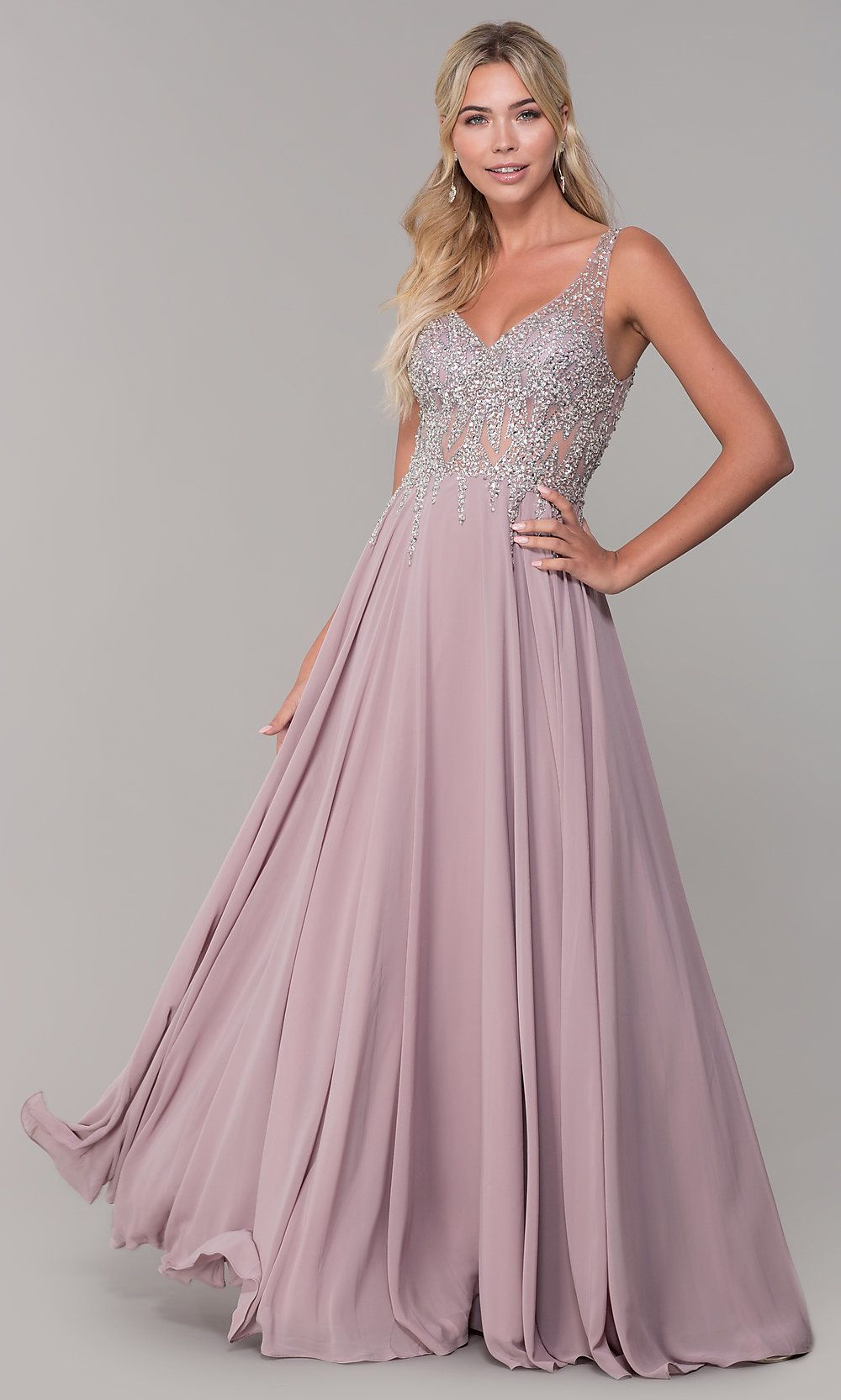 27e92ddcae3 V-Neck Long Sleeveless Prom Dress with Beaded Bodice in 2019