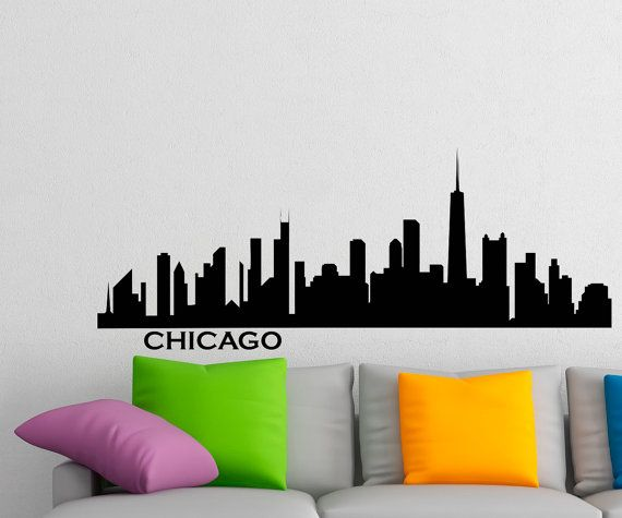 Chicago skyline wall decal vinyl sticker city by fabwalldecals