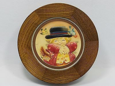 FERRANDIZ by ANRI wood framed 1979 MOTHER'S DAY PLATE ALL HEARTS #2177 OF 3,000