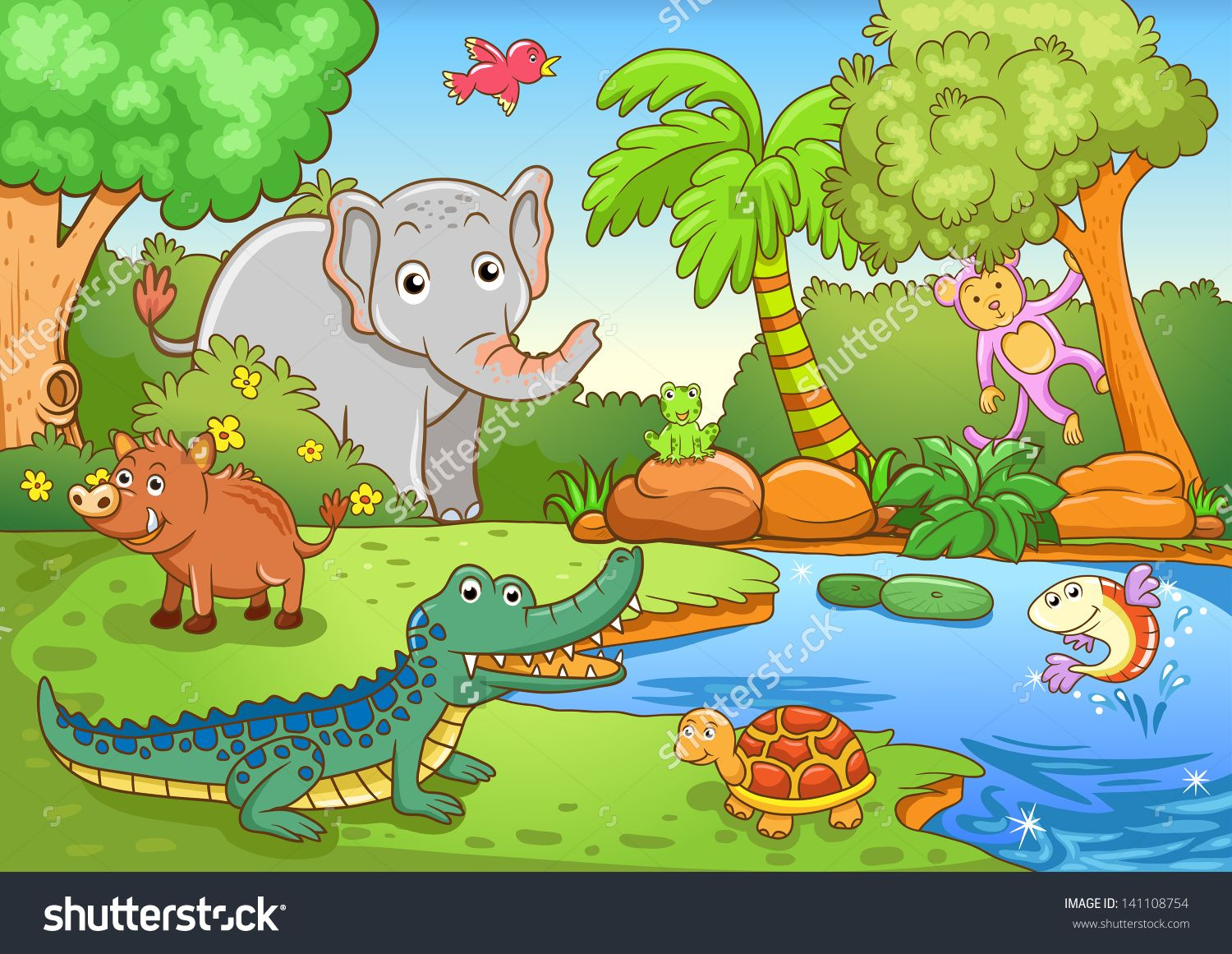 animals in forest. EPS10 File simple Gradients, no