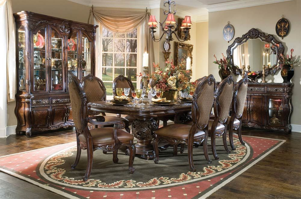 AICO Essex Manor Dining Table Set In Deep English Tea   Formal Dining Sets    Dining Sets By Dining Rooms Outlet