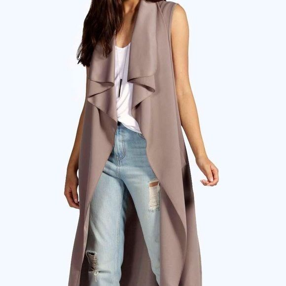 Grayish Taupe Sleevless Duster | Coats, Taupe and Spring
