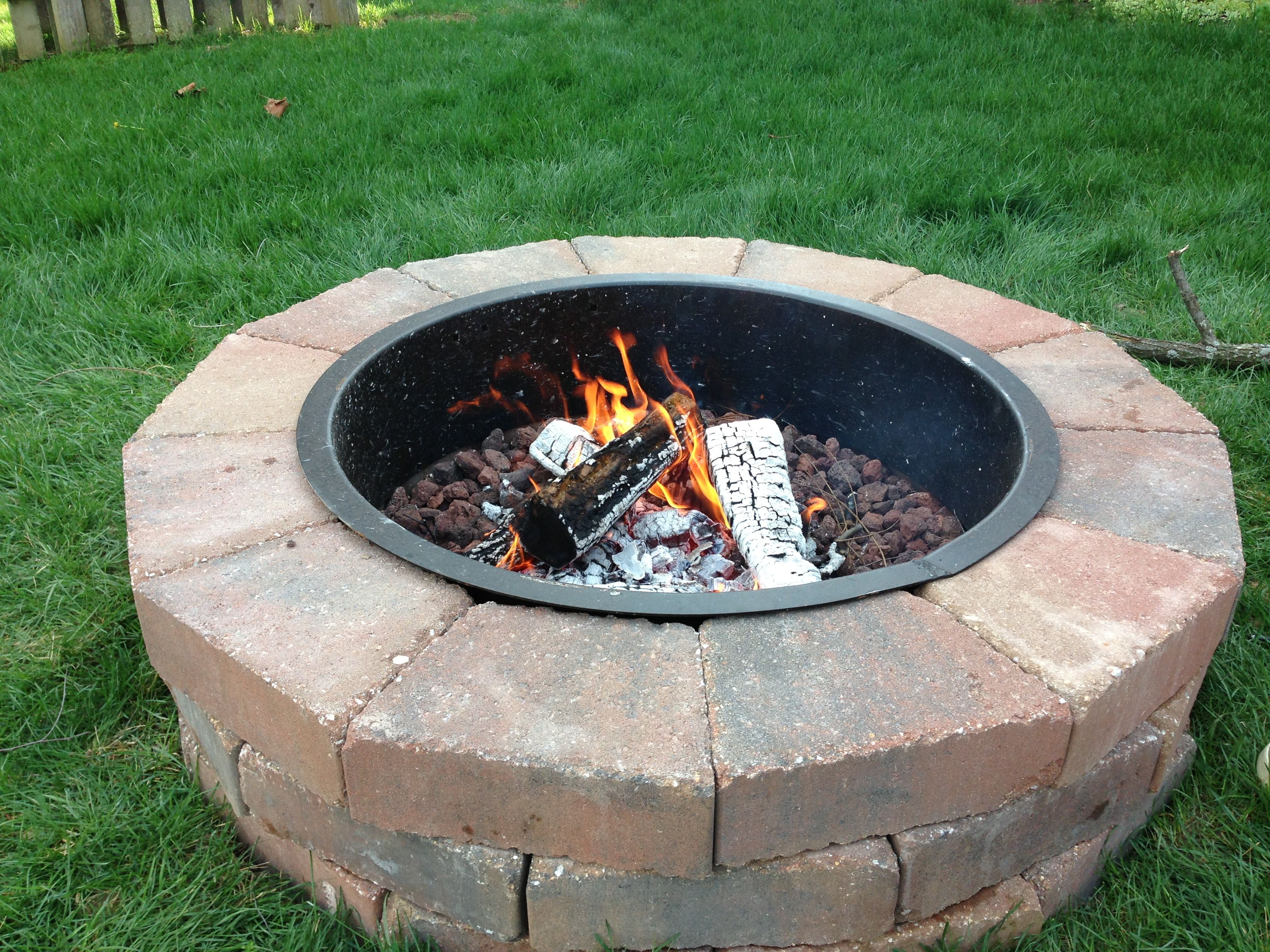 Fire pit built from a Lowe's kit. Fire pit, Outdoor