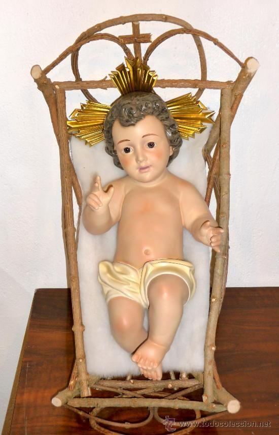 b5709db7d28 NIÑO JESÚS NUEVO DE 30 CM DE PASTA DE MADERA CON PIEL Y CUNA