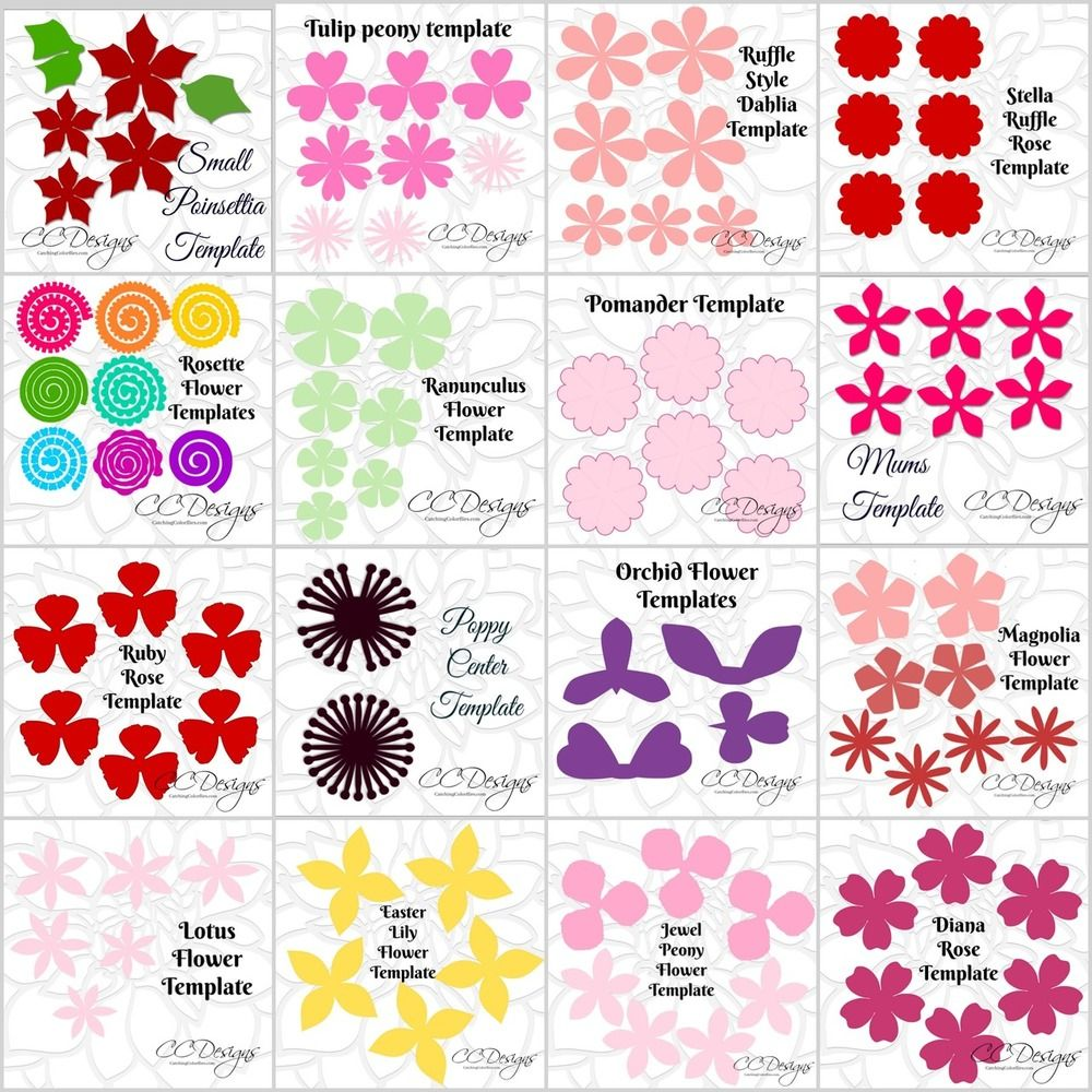 Small Paper Flower Templates Tutorials Full Library Set Of 38