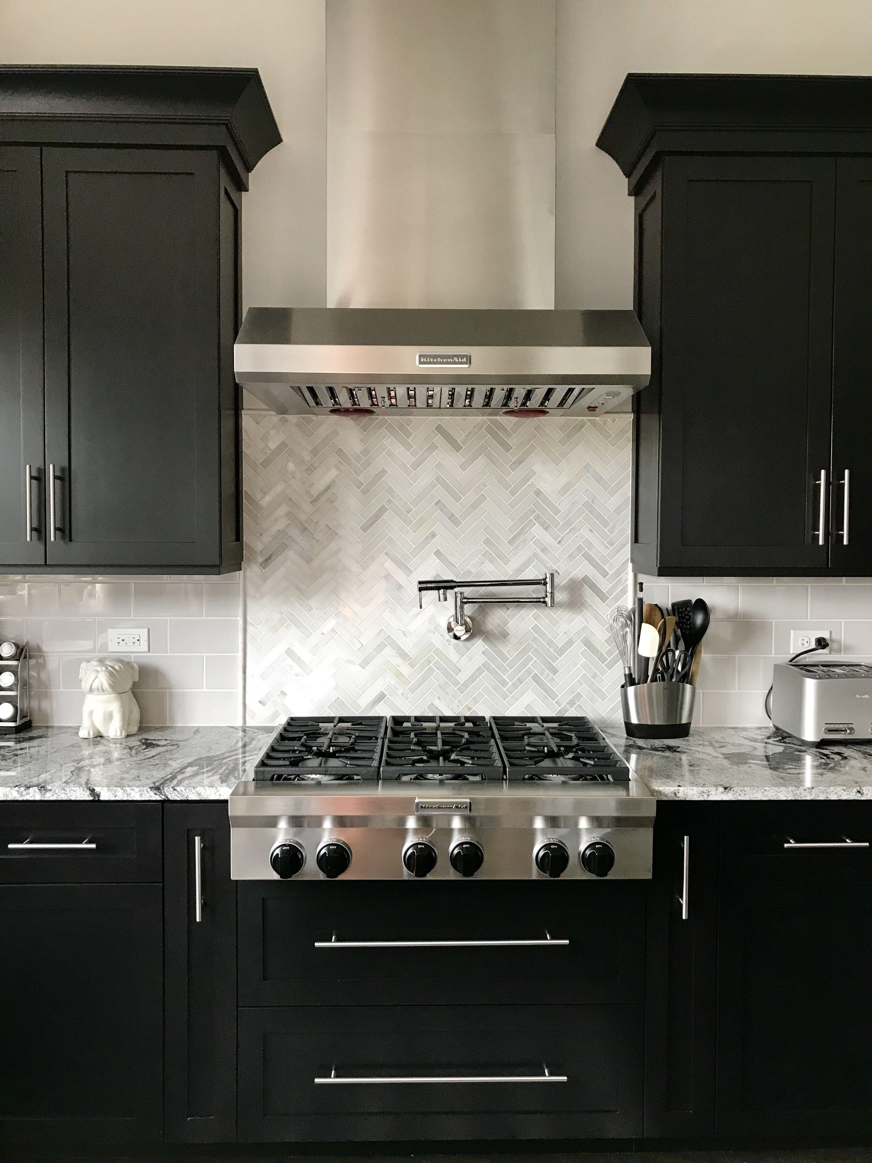Espresso Cabinets With Light Grey Subway Backsplash Herringbone