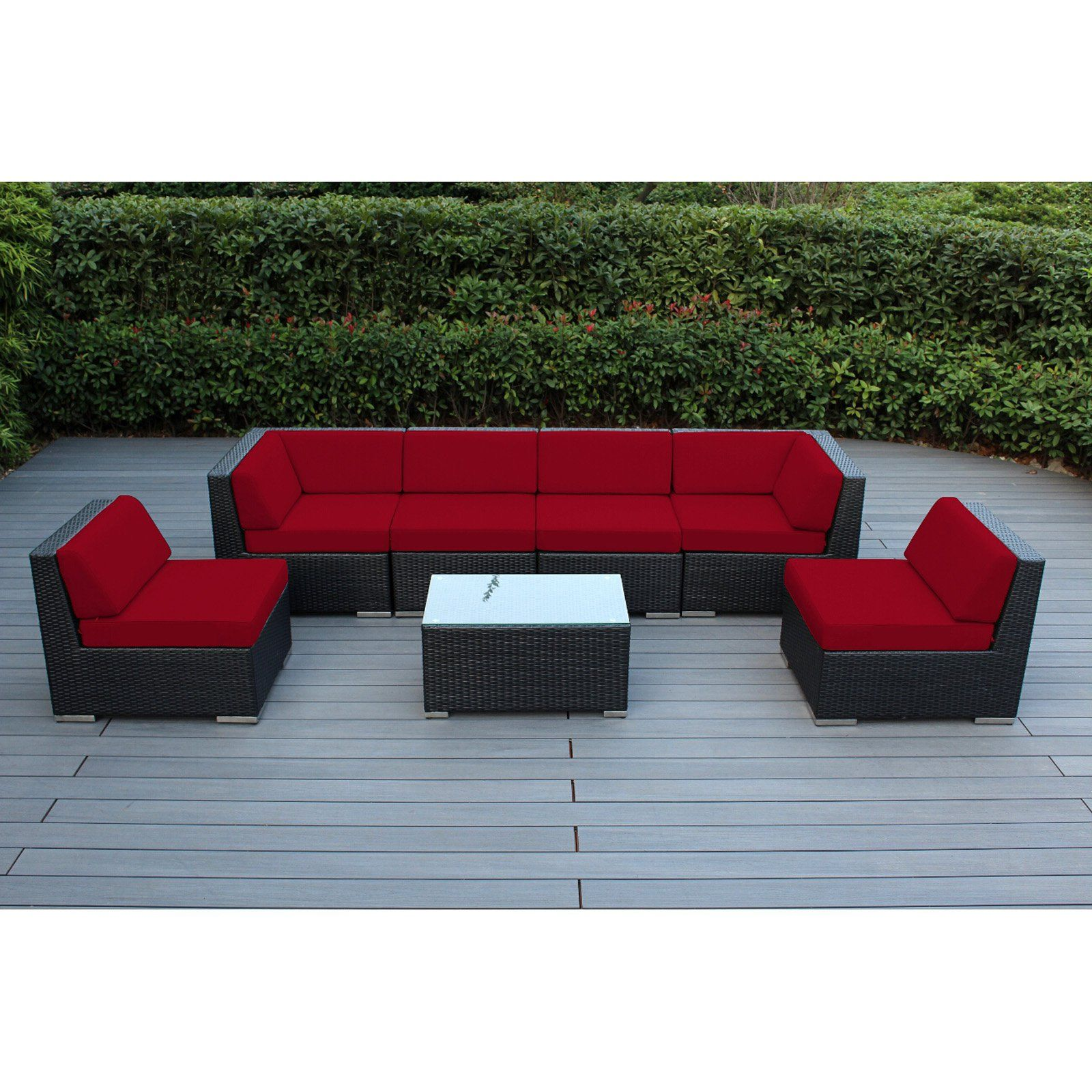 Outdoor Ohana All Weather Wicker 7 Piece Sectional Patio