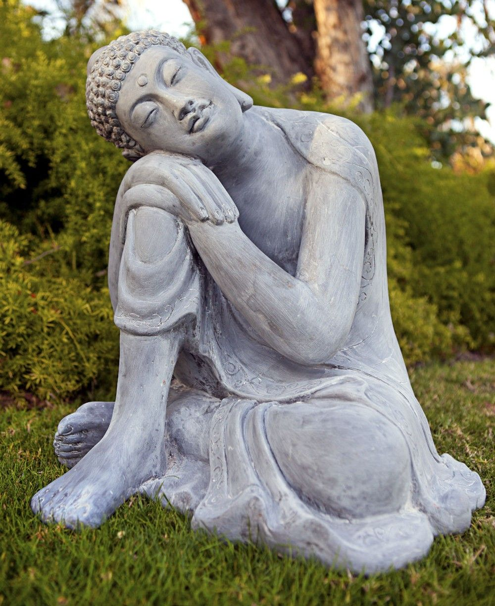 Peaceful resting buddha garden statue made of all weather for Outdoor buddha