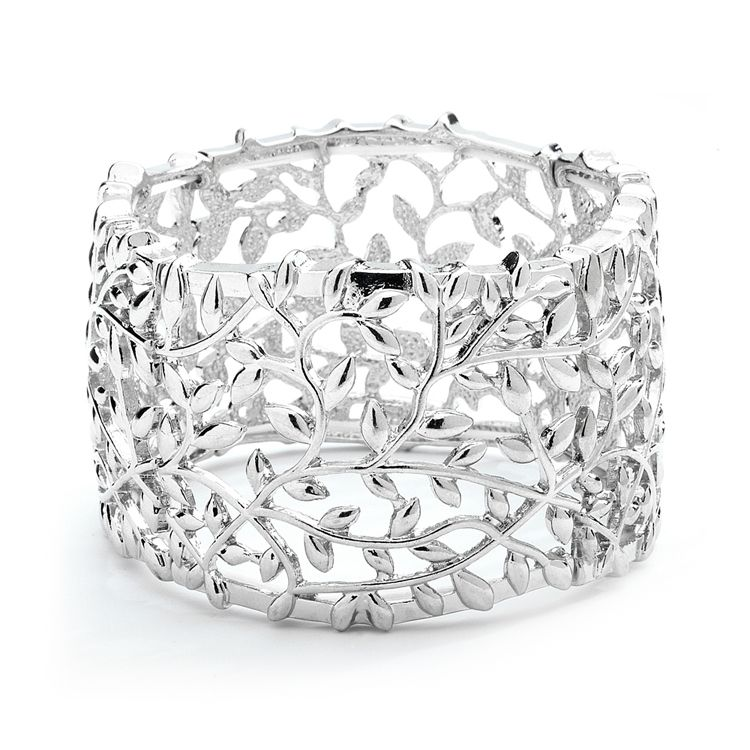 Gold vs. Silver - Silver Vine Bracelet // #wedding #earrings #bridal #bridesmaid #fashion #mariell