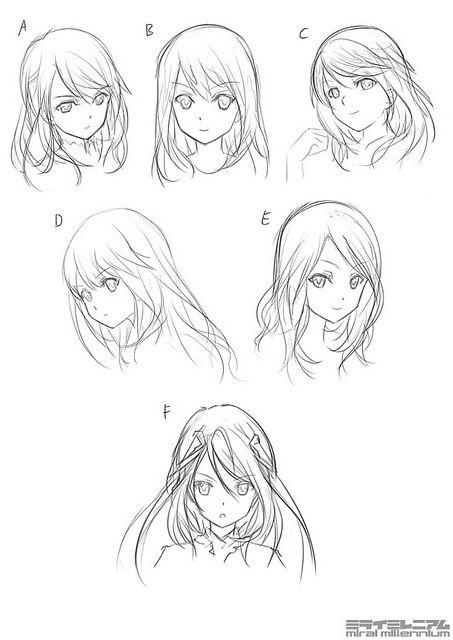 Anime Style Girls Hair Reference Manga Hair Anime Character Design Manga Drawing
