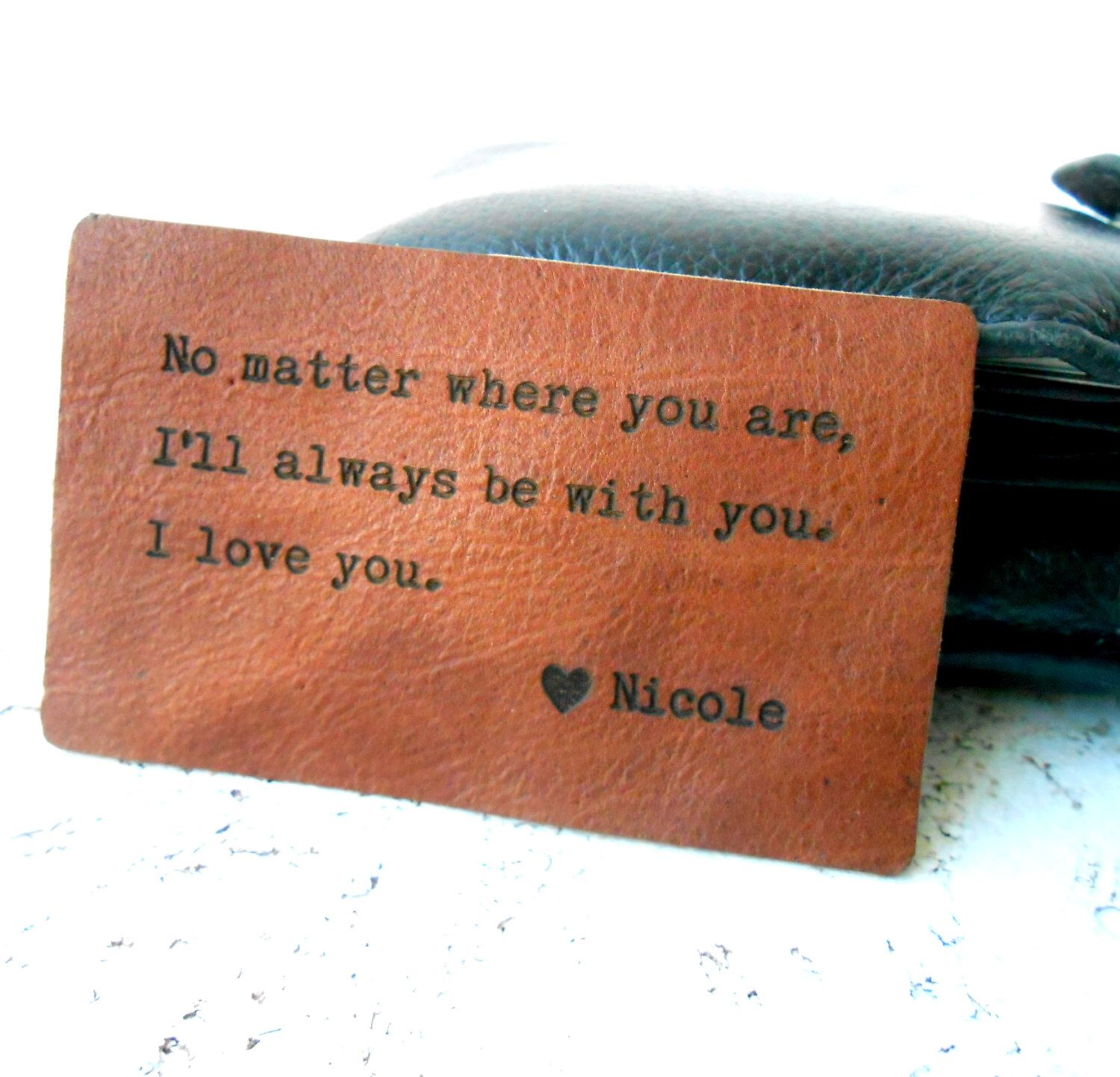 Wallet Insert Card, Personalized Leather Wallet Insert