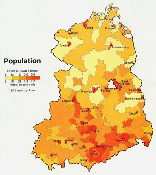 Population Density Map Of Germany.Population Density In East Germany 1977 The Power Of Maps