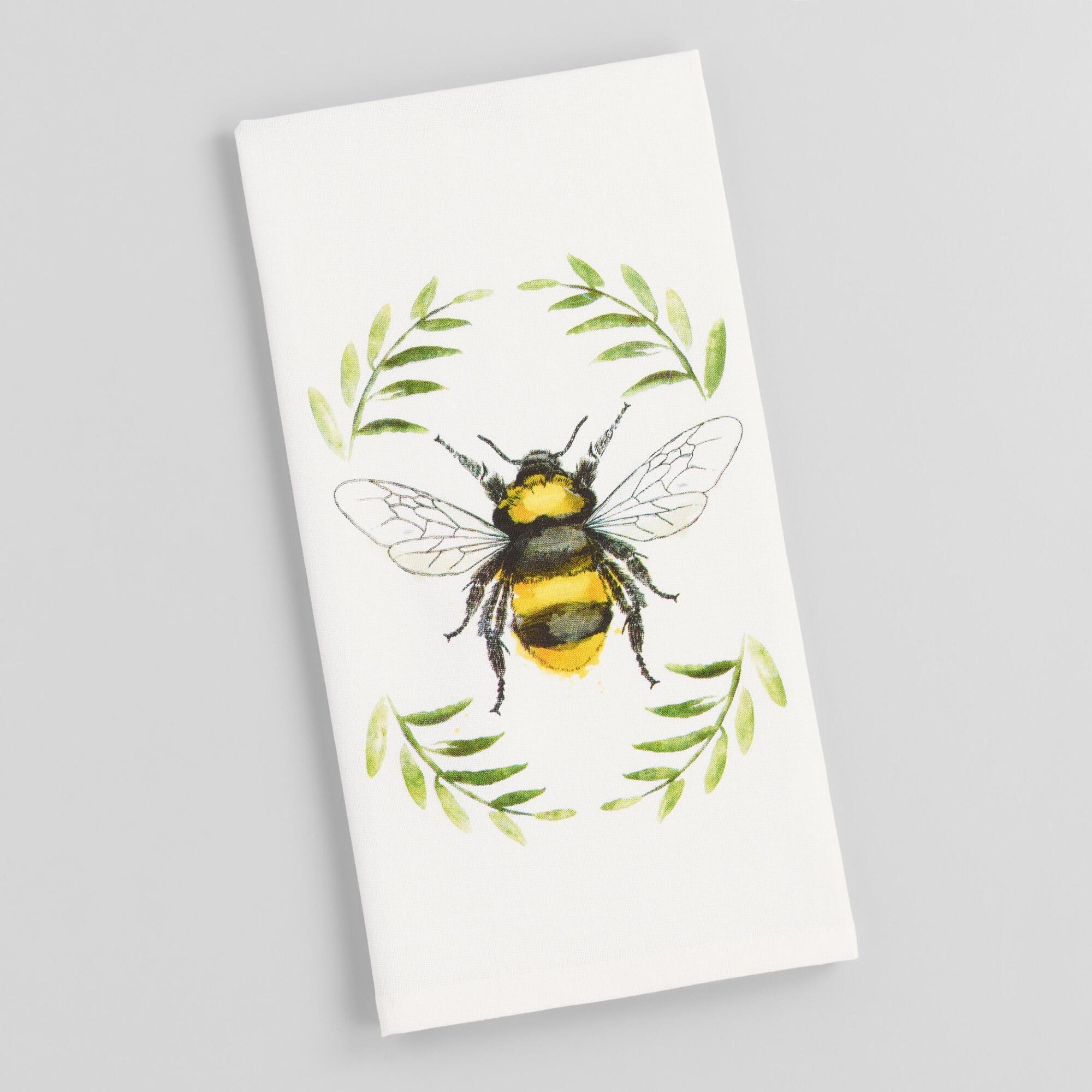 Watercolor Bee Kitchen Towel Bee Painting Bee Drawing Bee Art
