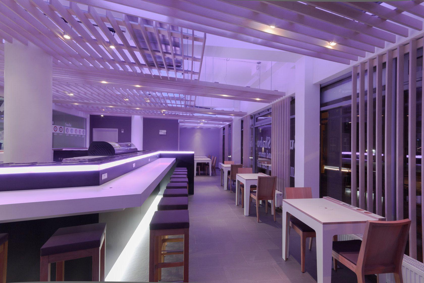 Modern purple theme restaurant and bar design idea full size
